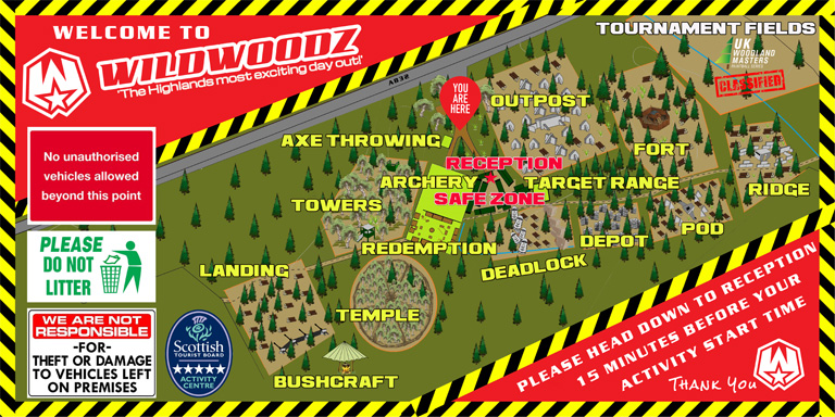 Wildwoodz Paintball Lasertag maps on the Black Isle near Inverness