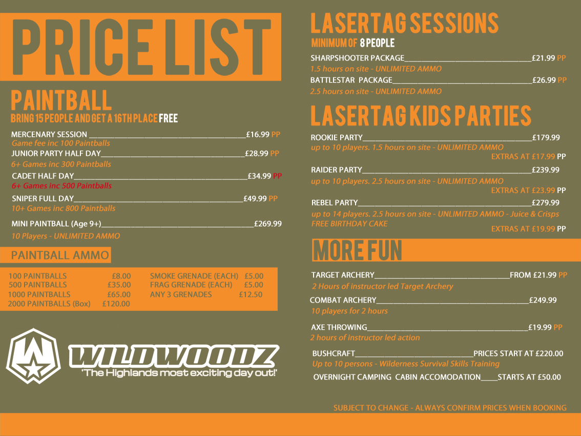 Wildwwoodz Prices, Paintball, Lasertag, Archery, Axe Throwing on the Black Isle near Inverness